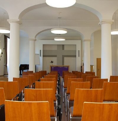 The auditorium at the Sisters of Mercy of St. Charles Borromeo Hospital